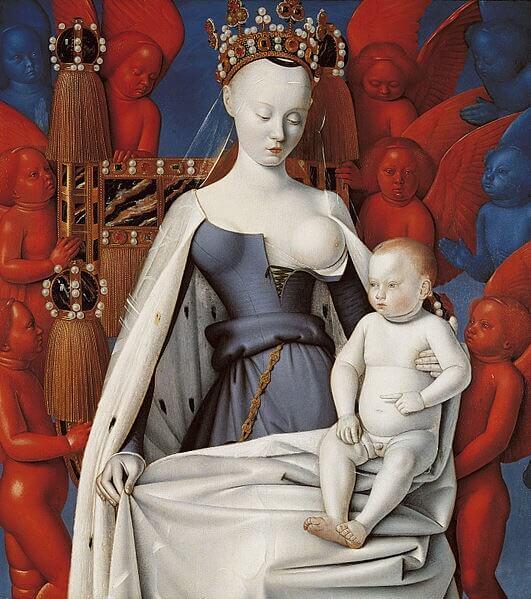 Jean Fouquet (1420 - 1481) war ein französischer Buch- und Tafelmaler. Er gilt als einer der bedeutendsten Künstler an der Schwelle von der Spätgotik zur Frührenaissance. Hier: Die thronende Madonna mit dem Christuskind um 1456 (Königliches Museum der Schönen Künste, Antwerpen).
