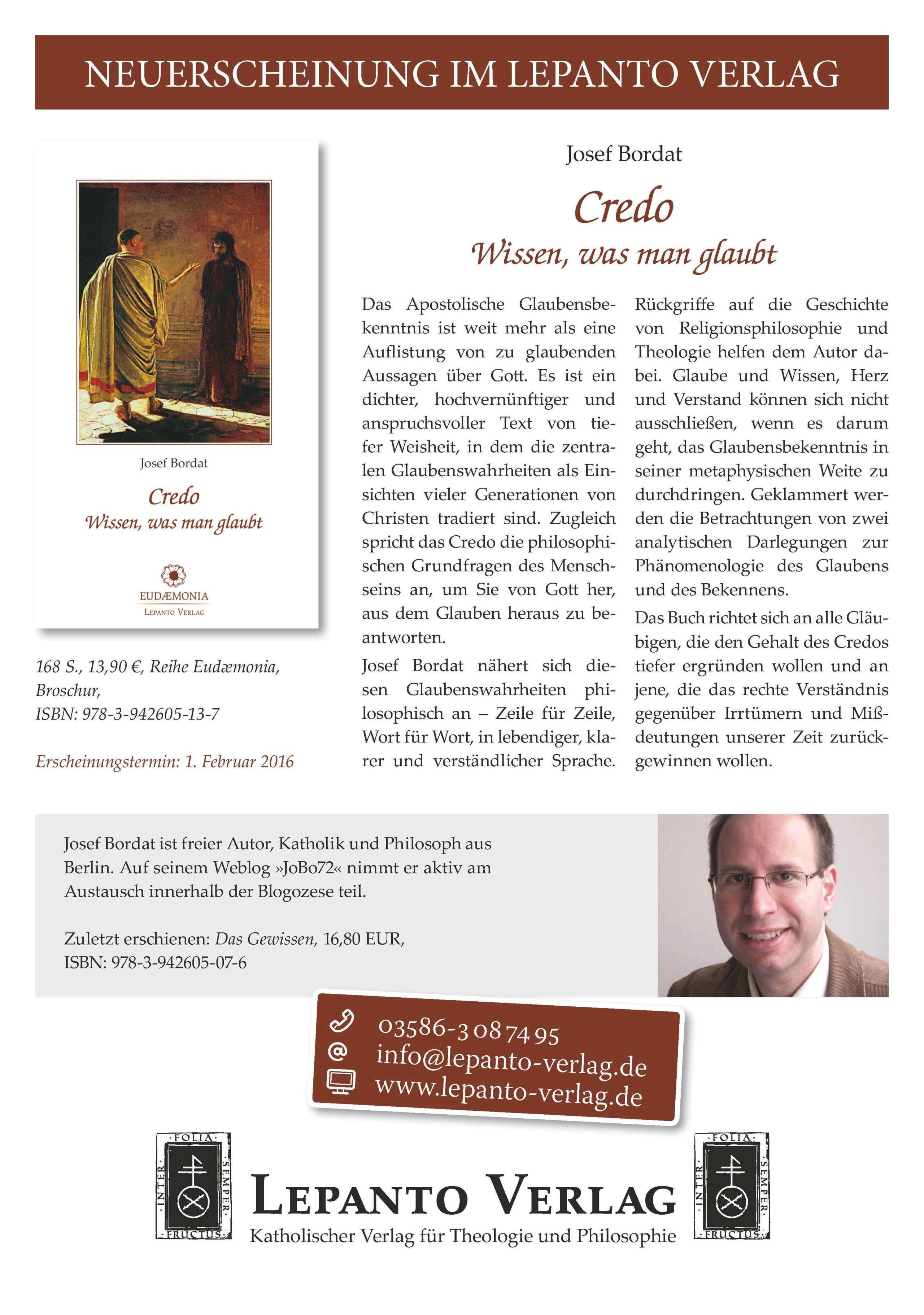 Bordat Credo 2-2016 Lepanto Verlag