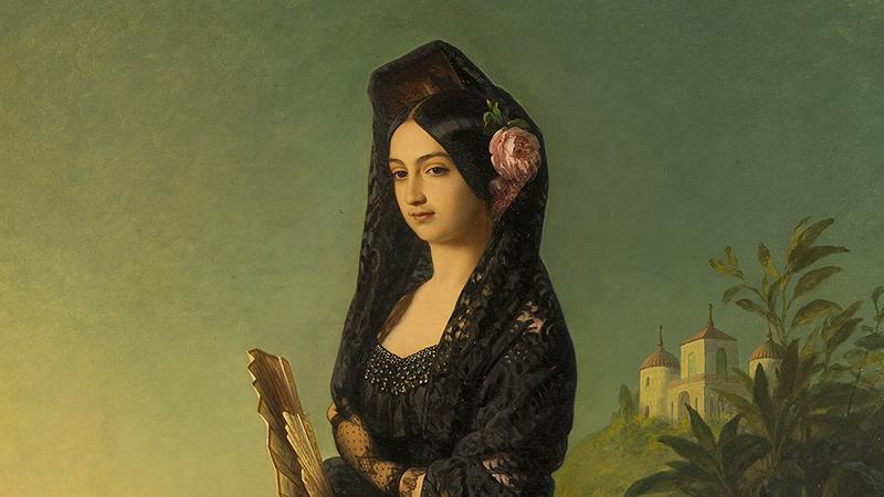 Die Infantin Luisa Fernanda mit Mantilla, Ölbild von Franz Xaver Winterhalter (um 1847) – [Public domain]