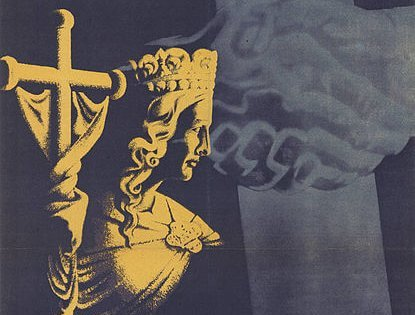 Wahlplakat CDU 1946: Rettet die abendländische Kultur… – Allegorie Ecclesia vom Portal des Bamberger Doms mit Kreuzfahne vor kreuzförmigem SED-Symbol | Bild: CDU [CC BY-SA 3.0 de (https://creativecommons.org/licenses/by-sa/3.0/de/deed.en)], via Wikimedia Commons