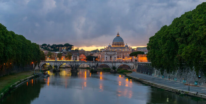 Rom bei Sonnenuntergang, fotografiert von der Ponte Sant'Angelo |Jebulon / CC0