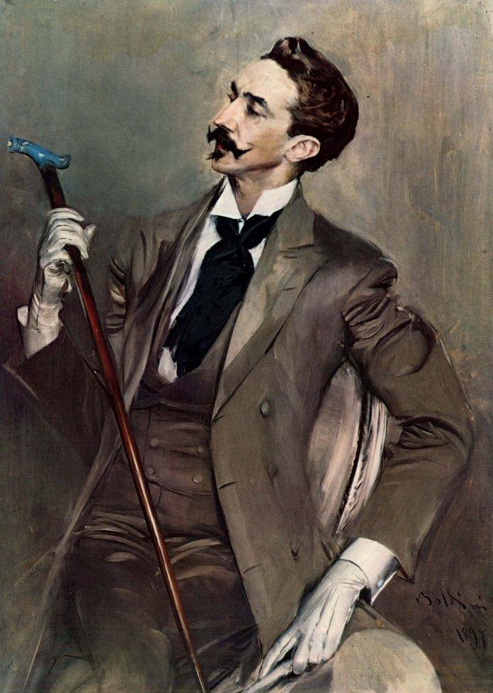 Der Dandy pflegt eine auratische Extravaganz. Er will strahlen und auffallen um jeden Preis. Dafür nimmt er sogar die Lächerlichkeit in Kauf. Die Normalität ist sein Hölle. Bild: Giovanni Boldini [Public domain]