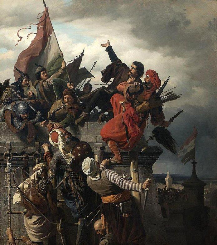 Titus Dugović opfert sich von Sándor Wagner (1859), Thema Belagerung Belgrads durch die Osmanen 1456 Bild: Alexander von Wagner [Public domain]