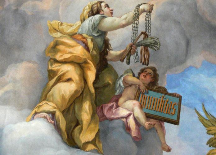 Aus der Karlskirche in Wien: Die Allegorie der Demut, Fresko von Johann Michael Rottmayr; entstanden 1714. Foto: Wolfgang Sauber via Wikimedia (CC BY-SA 3.0)