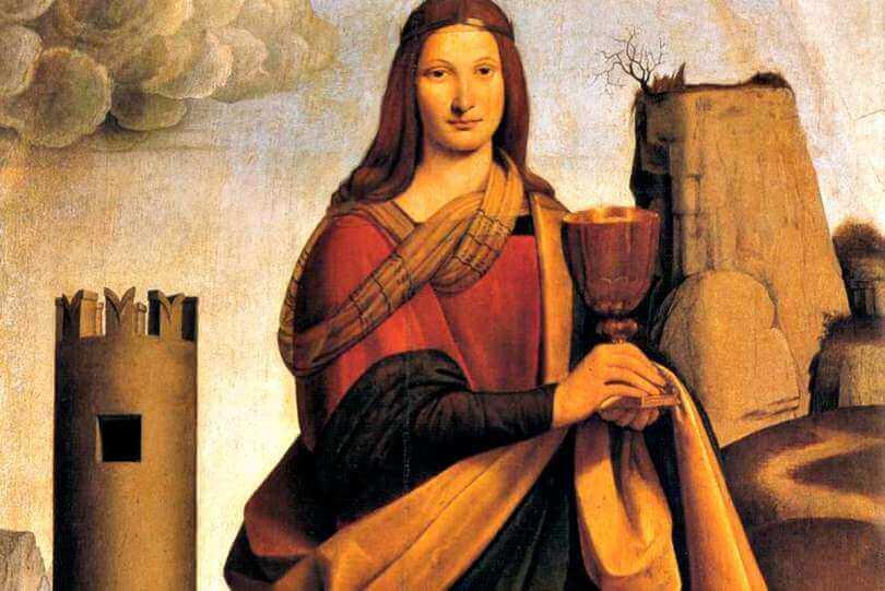 Ende des 15. Jahrhunderts entstand diese Darstellung der Fürsprecherin der Architekten, Sankt Barbara, von Giovanni Antonio Boltraffio.