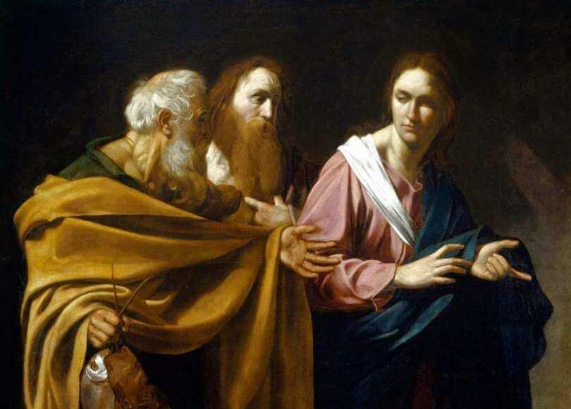 Caravaggio malte um 1605 diese Szene aus dem Evangelium nach Matthäus (Mt 4,18-20), in der ein junger, bartloser Jesus die deutlich älteren Brüder Simon (Petrus) und Andreas ruft. Foto: Gemeinfrei
