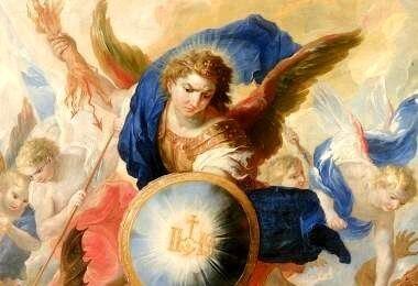 Der Erzengel Michael stürzt Satan – Johann Michael Rottmayr [Public domain]