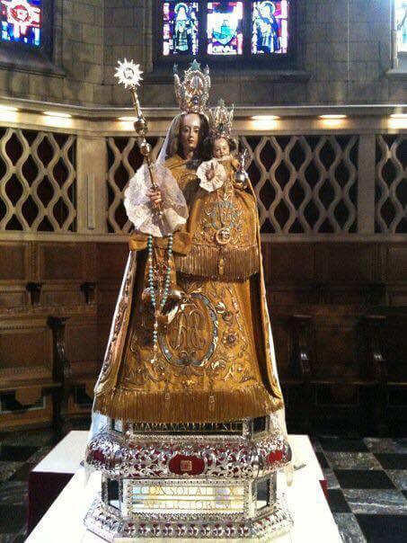 Das etwa 73 cm große Gnadenbild, aus Lindenholz geschnitzt, ist eine Marienstatue, die das Jesuskind auf dem linken Arm trägt. Der rechte Fuß zertritt den Kopf der Schlange, und zu ihren Füßen liegt der sichelförmige Mond. Die Statue stammt wahrscheinlich aus Montaigu in Belgien.