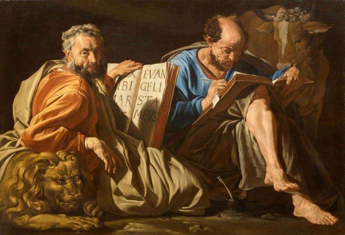 STOMER, MATTHIAS (Amersfoort um 1600 - nach 1650 Sizilien) Die Evangelisten Markus und Lukas mit ihren Attributen Löwe und Ochse. Quelle: https://www.kollerauktionen.ch