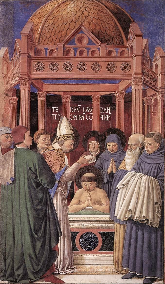 Augustinus wird von Ambrosius von Mailand getauft – Bild: Benozzo Gozzoli [Public domain]
