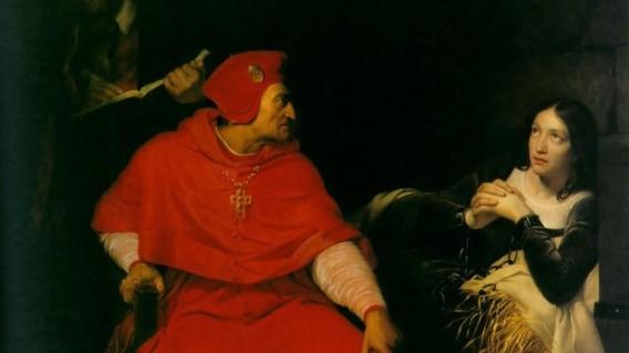 Jeanne d'Arc bei ihrer Befragung durch den Kardinal von Winchester - Bild: Paul Delaroche [Public domain]