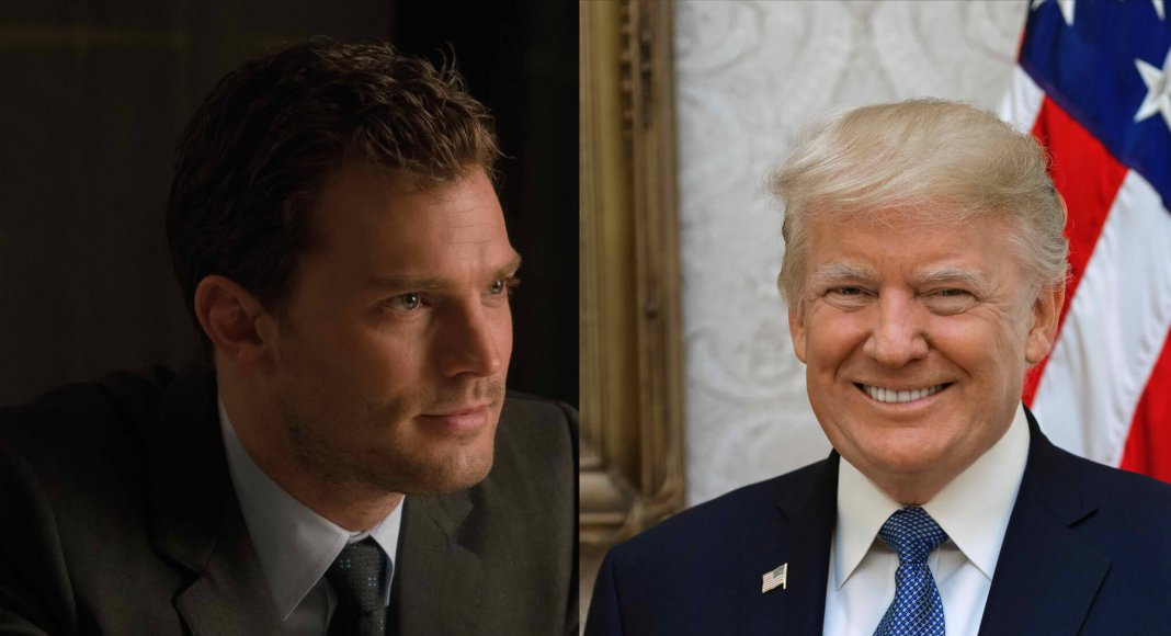 Bildkollage: Christian Grey (Universal Pictures) und Donald Trump (Wikipedia)