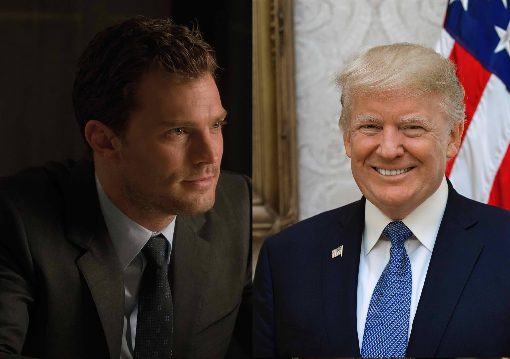 Bildkollage: Christian Grey (Universal Pictures) und Donald Trump (Wikipedia)