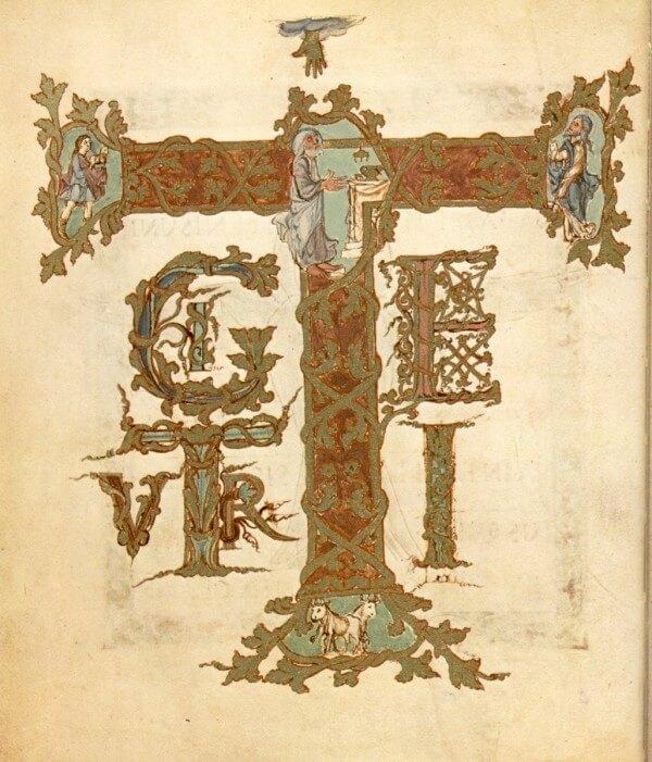 Bild: Kanoninitiale Te igitur, Archiv Oldendorf