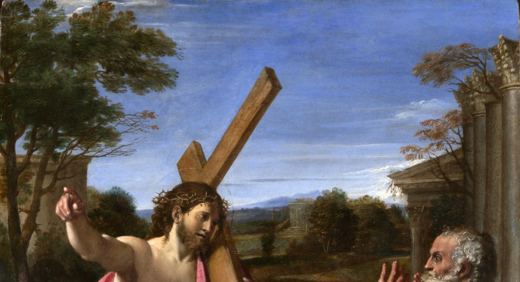 Christus erscheint Petrus (Quo vadis). Künstler: Annibale Carracci 1601/1602 Quelle: https://www.nationalgallery.org.uk/paintings/annibale-carracci-christ-appearing-to-saint-peter-on-the-appian-way - Lizenz: CC BY-NC-ND 4.0
