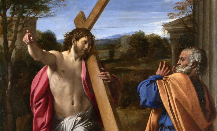 Christus erscheint Petrus (Quo vadis). Künstler: Annibale Carracci 1601/1602 Quelle: https://www.nationalgallery.org.uk/paintings/annibale-carracci-christ-appearing-to-saint-peter-on-the-appian-way - Lizenz: CC BY-NC-ND 4.0