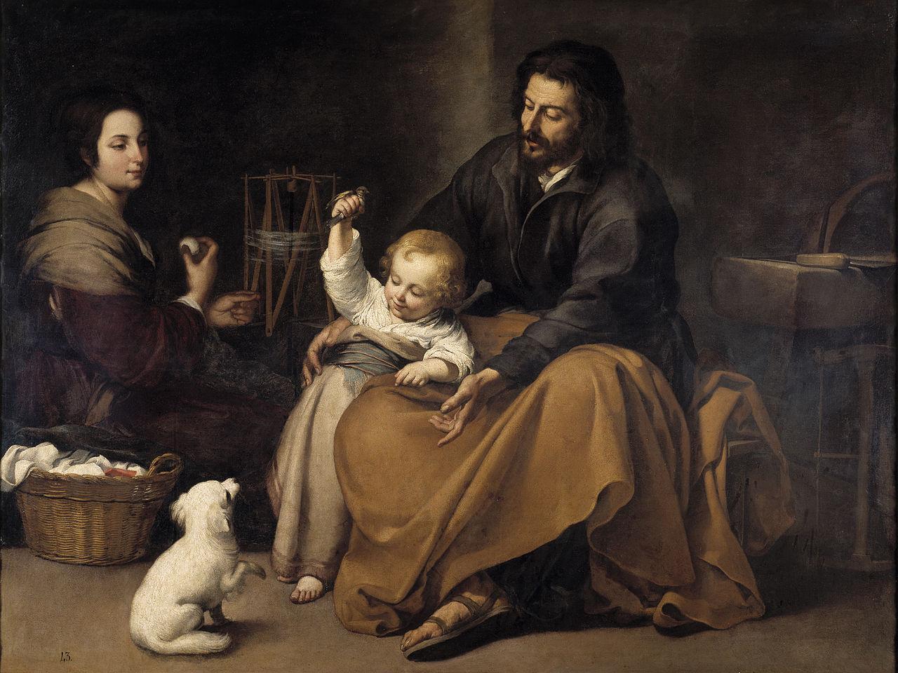 Sacra Famiglia col cagnolino di Bartolomé Esteban Murillo - Bartolomé Esteban Murillo [Public domain]