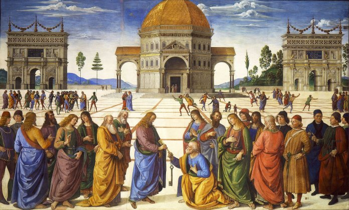Pietro Perugino: Christus übergibt Petrus den Schlüssel zum Himmelreich (Fresko in der Sixtinischen Kapelle, 1480–1482) Bild: Pietro Perugino [Public domain]