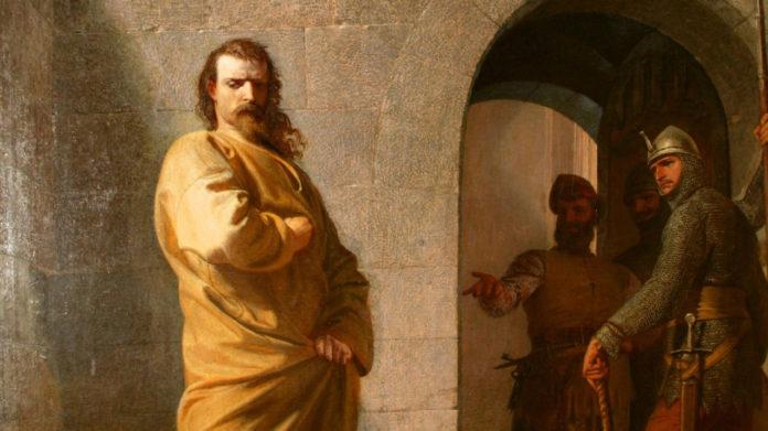 Heinrich vor Canossa von Eduard Schwoiser aus dem Jahr 1862 – Eduard Schwoiser (1826 — 1902) [Public domain]