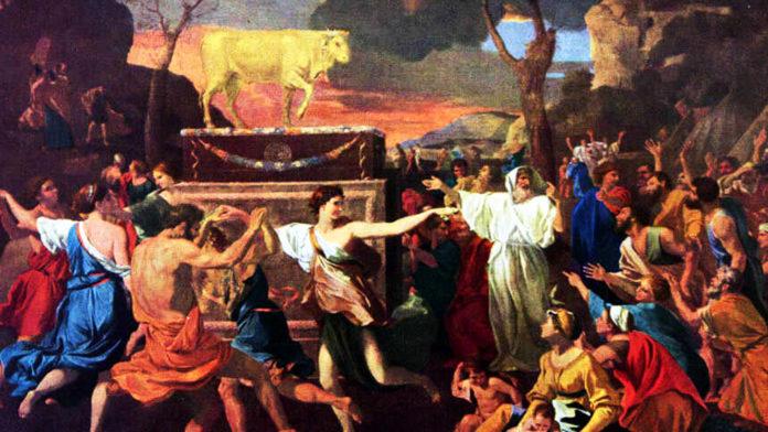 Nicolas Poussin: Die Anbetung des goldenen Kalbes (1633–1634) (public domain)