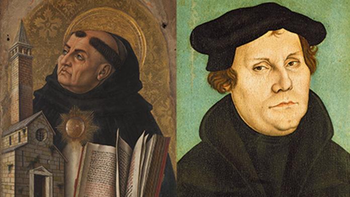 Die beiden Theologen der katholischen und protestantischen Theologie: Thomas von Aquin und Martin Luther