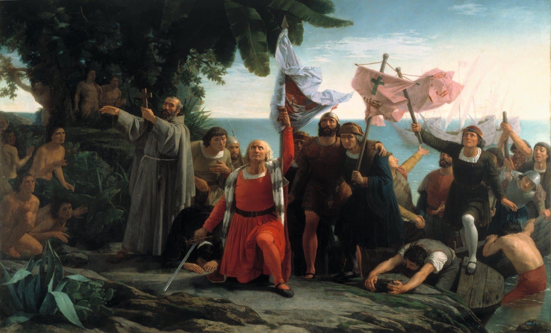 Die Entdeckung der Neuen Welt. Bild: Dióscoro Puebla [Public domain]