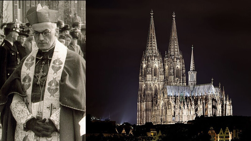 Links: Kardinal Frings | City archives Kerpen / CC BY (https://creativecommons.org/licenses/by/4.0) | Rechts: Der Kölner Dom | Thomas Wolf, www.foto-tw.de / CC BY-SA 3.0 DE (https://creativecommons.org/licenses/by-sa/3.0/de/deed.en)