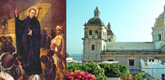 Petrus Claver und die Kathedrale St. Petrus Claver in Cartagena, in der Petrus Claver seinen Dienst tat. Bild der Kathedrale: David Shankbone [CC BY 3.0 (https://creativecommons.org/licenses/by/3.0)]