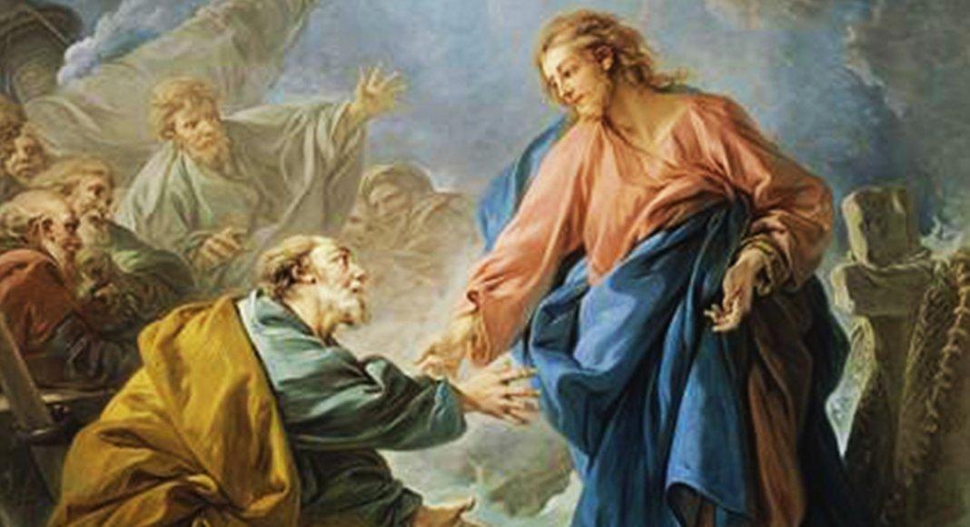 Bild: Der heilige Petrus geht unter | Von François Boucher