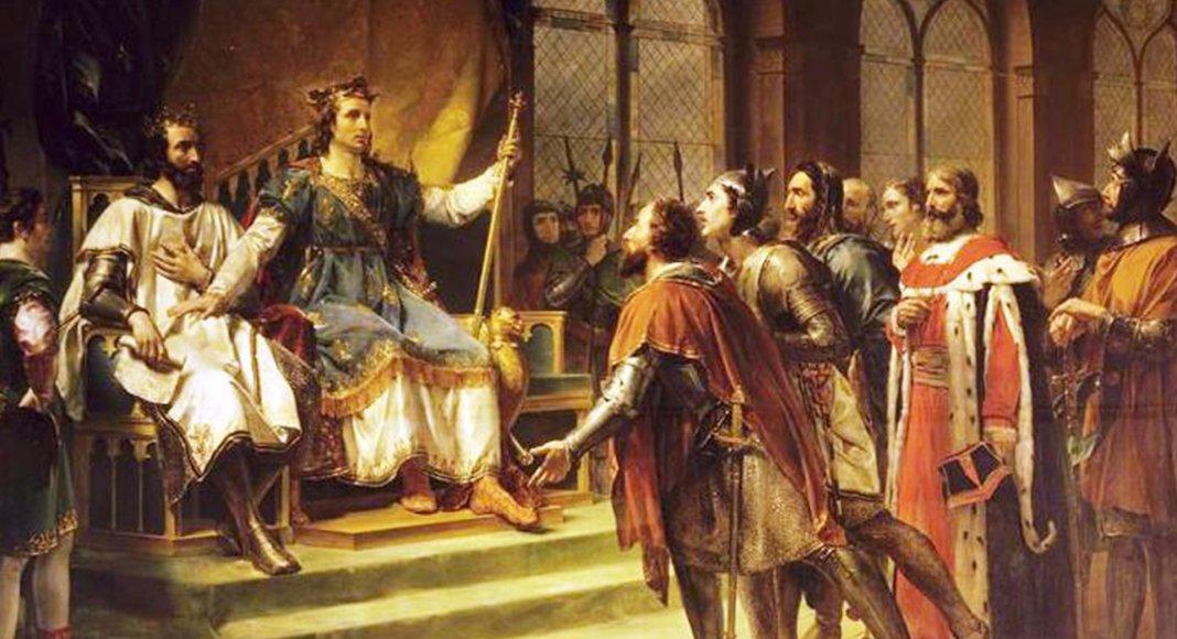 Bild: Saint Louis médiateur entre le roi d'Angleterre et ses barons, Georges Rouget, 1820, château de Versailles ( public domain).