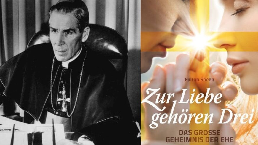 Erzbischof Fulton Sheen und das Buchcover. Bild von Erzbischof Sheen: ABC Radio [Public domain]
