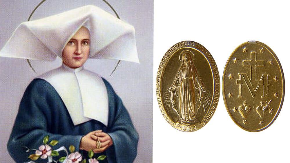 Linke Bildhälfte: St. Catherine Labouré | public domain |Rechte Bildhälfte: Vorder- und Rückseite der Medaille in der Ausführung von Adrien Vachette | Xhienne / CC BY-SA (http://creativecommons.org/licenses/by-sa/3.0/)