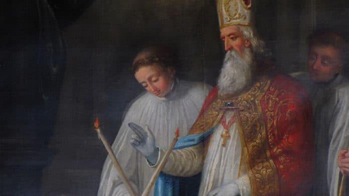 Die Spendung des Blasiussegens, Altarbild von 1740, das den hl. Blasius selbst bei der Segnung zeigt   Bild:© Ralph Hammann - Wikimedia Commons [Public domain]