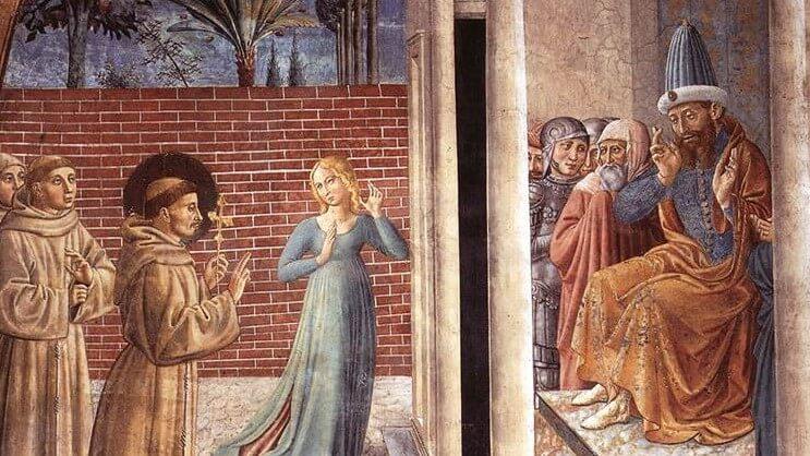 Franz von Assisi und der Sultan / Bild: Benozzo Gozzoli 1452, [Public domain]