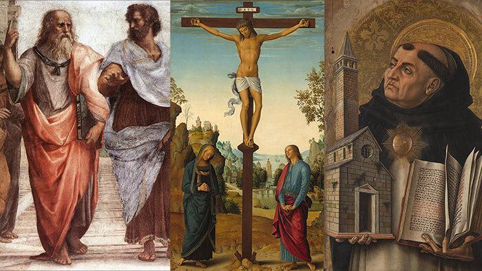 Links: Aristoteles und Platon. In der Mitte: Jesus Christus. Rechts: Thomas von Aquin.