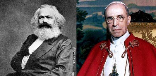 Karl Marx und Pius XII. (Bilder: public domain)
