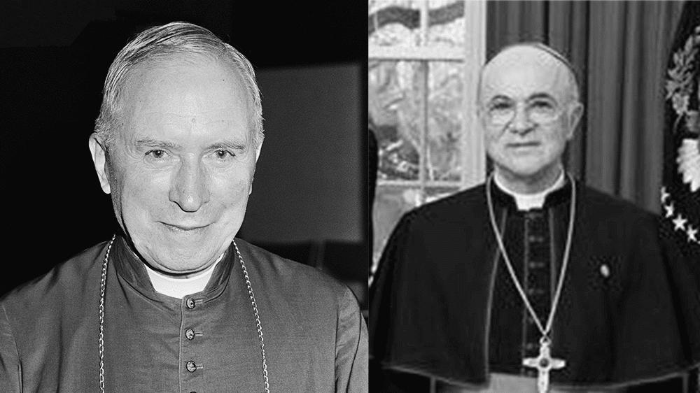 Links: Erzbischof Lefebvre // Bild: Antonisse, Marcel / Anefo [CC BY-SA 3.0 nl (https://creativecommons.org/licenses/by-sa/3.0/nl/deed.en)] (Ausschnitt) | Rechts: Erzbischof Vigano (gemeinfrei)