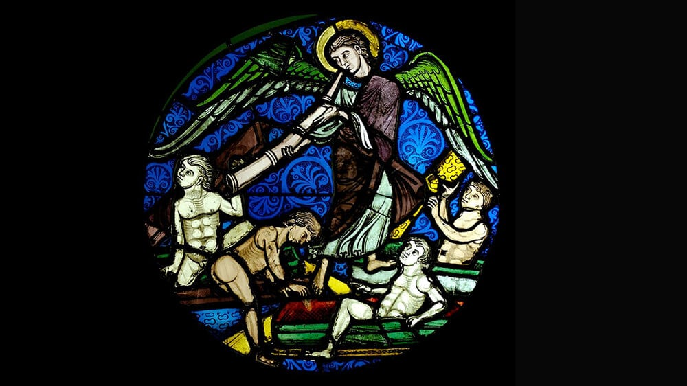 Bild: Die Auferstehung der Toten, um 1200 in Sainte-Chapelle, Paris (public domain)