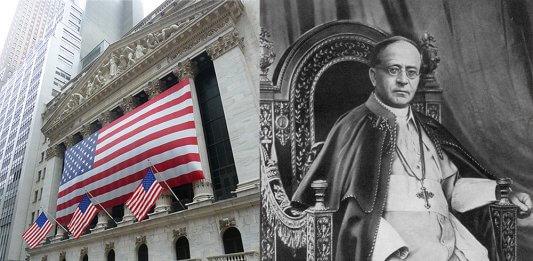 Bild: Die Wallstreet und Pius XI. | Linke Bildhälfte: Hundsgemeini / CC BY-SA (https://creativecommons.org/licenses/by-sa/3.0)