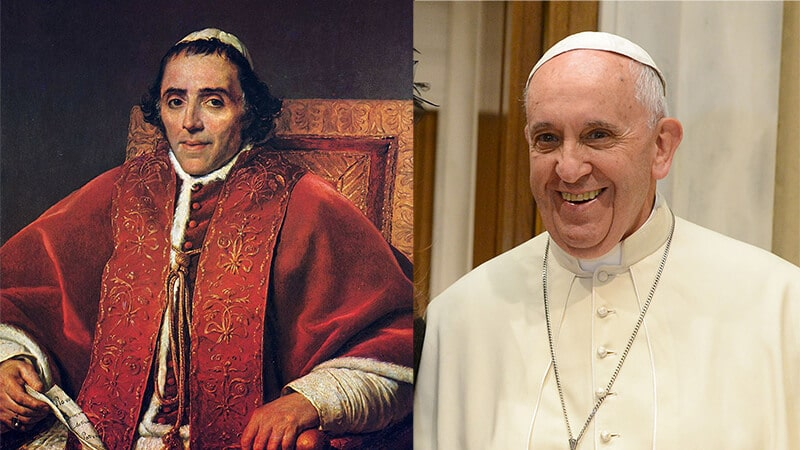 Links: Pius VII. Rechts: Bild von Papst Franziskus: Casa Rosada (Argentina Presidency of the Nation) / CC BY-SA (https://creativecommons.org/licenses/by-sa/2.0)