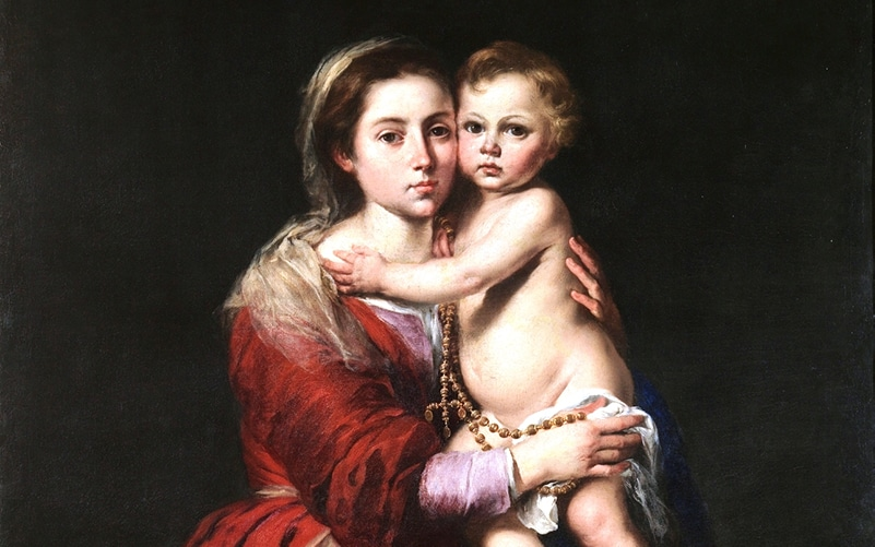Die Muttergottes mit dem Rosenkranz | Bartolomé Esteban Murillo (1650), Public domain, via Wikimedia Commons