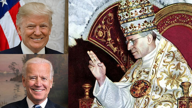 Pius XII. an Trump und Biden Collage, public domain