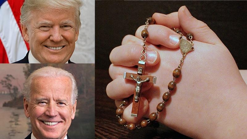 Links: Trump und Biden (public domain) Rechts: Rosenkranz (pixabay.com)