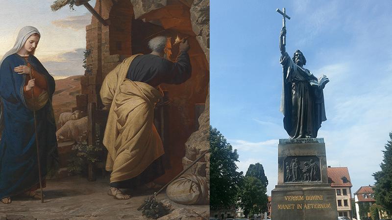 Michael Rieser: Am Abend vor Christi Geburt (1869) |Michael Rieser (1828-1905), Public domain, via Wikimedia Commons | Rechts: Winfried Bonifatius in Fulda