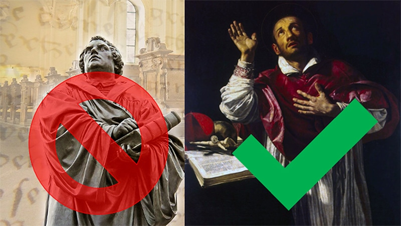 Links: Martin Luther. Rechts: Karl Borromäus