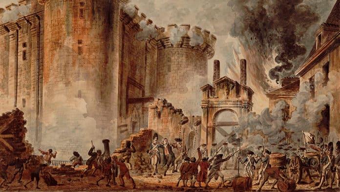 Mit dem Sturm auf die Bastille am 14. Juli 1789 begann die Französische Revolution. War sie eine Befreiungsbewegung oder ein Gewaltakt? Bild: La Prise de la Bastille (Sturm auf die Bastille) von Jean-Pierre Houël (1789)   Public domain, via Wikimedia Commons
