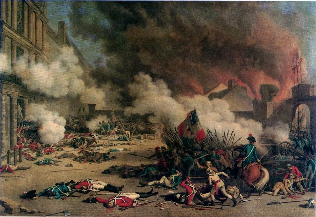Der Sturm auf die Tuilerien am 10. August 1792. Gemälde von Jean Duplessis-Bertaux, 1793   Public domain, via Wikimedia Commons