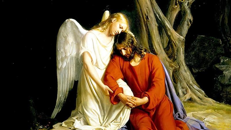 Ein Engel tröstet Jesus im Garten von Gethsemane, von Carl Heinrich Bloch, 1865-1879.Carl Bloch, Public domain, via Wikimedia Commons