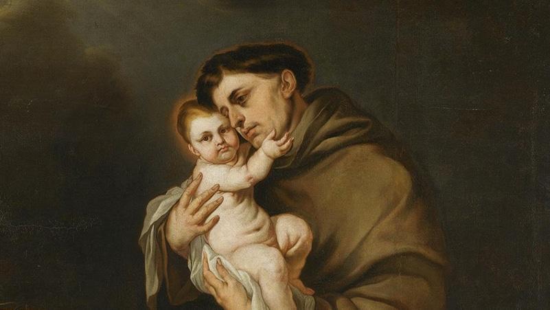 Eine typische Darstellung des heiligen Antonius von Padua mit Tonsur, Kutte und Jesuskind | Bild: Giacomo Farelli, Public domain, via Wikimedia Commons