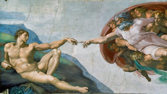 Die Erschaffung Adams, ein Freskogemälde   Bild: Michelangelo, Public domain, via Wikimedia Commons